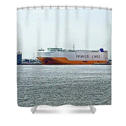 Shower Curtain featuring the photograph Ro Ro Freighters Lined Up At Curtis Bay by Bill Swartwout Fine Art Photography