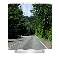 Road Among The Trees Shower Curtain by John Rossman