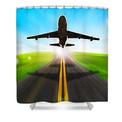 Road And Plane Shower Curtain by Setsiri Silapasuwanchai