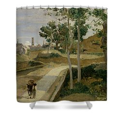 Road From Volterra Shower Curtain by Jean Baptiste Camille Corot