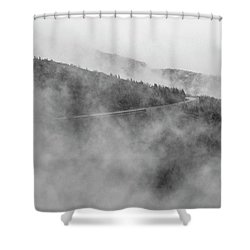 Road In Fog - Blue Ridge Parkway Shower Curtain