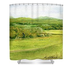 Road Through Vermont Field Shower Curtain