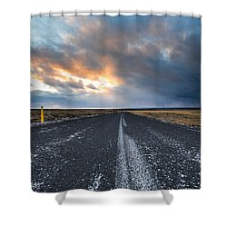 Shower Curtain featuring the photograph Road To The Sky by Alex Blondeau