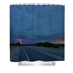 Shower Curtain featuring the photograph Road To The Storm by Ed Sweeney