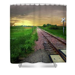 Road Track Crossing Shower Curtain