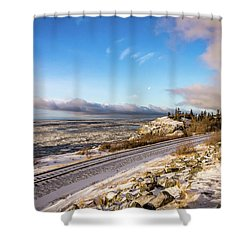 Road, Tracks, And Water Shower Curtain