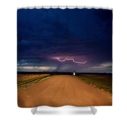 Shower Curtain featuring the photograph Road Under The Storm by Ed Sweeney