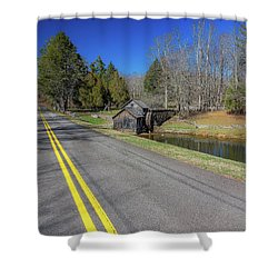 Road View Of Mabry Mill Shower Curtain