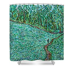 Roadside Green Shower Curtain