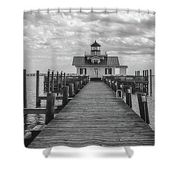 Shower Curtain featuring the photograph Roanoke Marshes Light by David Sutton