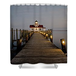 Shower Curtain featuring the photograph Roanoke Marshes Lighthouse by David Sutton