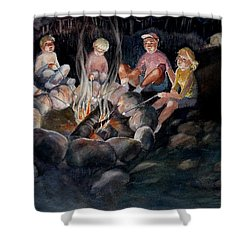 Roasting Marshmallows Shower Curtain by Marilyn Jacobson