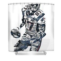 Rob Gronkowski New England Patriots Pixel Art 2 Shower Curtain by Joe Hamilton
