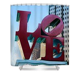 Robert Indiana Love Sculpture Shower Curtain