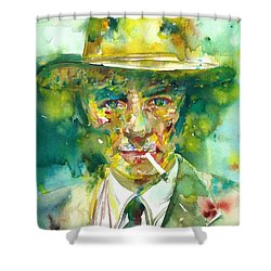 Shower Curtain featuring the painting Robert Oppenheimer - Watercolor Portrait.2 by Fabrizio Cassetta