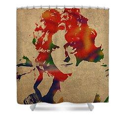 Robert Plant Led Zeppelin Watercolor Portrait Shower Curtain