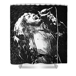Robert Plant Shower Curtain by Taylan Apukovska
