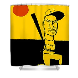 Roberto Clemente Pittsburgh Pirates Shower Curtain by Jay Perkins