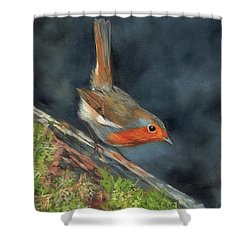 Shower Curtain featuring the painting Robin by David Stribbling