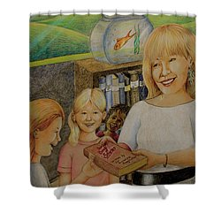 Robin Gives The Book Of Stories To The Children Shower Curtain
