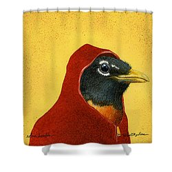 Robin Hoodie... Shower Curtain by Will Bullas