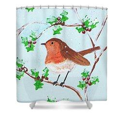 Robin In A Holly Bush Shower Curtain