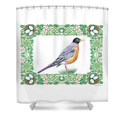 Robin In Spring Shower Curtain by Lise Winne