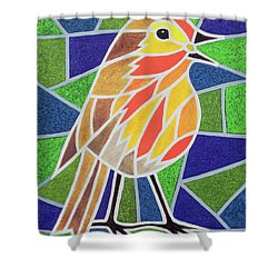 Robin On Stained Glass Shower Curtain by Pat Scott
