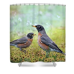 Robins, Heralds Of Spring Shower Curtain by Bonnie Barry