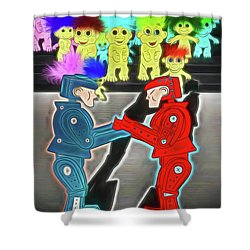 Robots And Trolls Shower Curtain