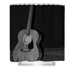 Robyn Hitchcock's Guitar Shower Curtain by Lauri Novak