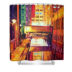 Rochdale Canal With Lock At Night Shower Curtain