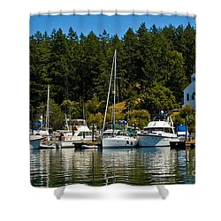 Roche Harbor Marina Shower Curtain by Chuck Flewelling
