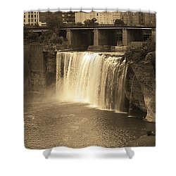 Shower Curtain featuring the photograph Rochester, New York - High Falls Sepia by Frank Romeo