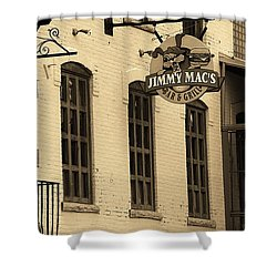 Shower Curtain featuring the photograph Rochester, New York - Jimmy Mac's Bar 3 Sepia by Frank Romeo