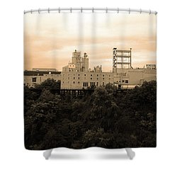 Shower Curtain featuring the photograph Rochester, Ny - Factory On A Hill Sepia by Frank Romeo