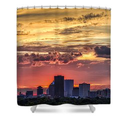 Shower Curtain featuring the photograph Rochester Skyline by Mark Papke