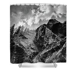 Rock #9542 Bw Version Shower Curtain by Andrey Godyaykin
