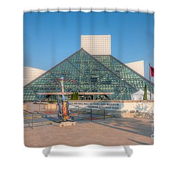 Rock And Roll Hall Of Fame I Shower Curtain by Clarence Holmes