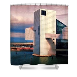 Rock And Roll Hall Of Fame Shower Curtain by Shawna Rowe