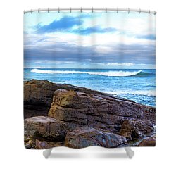 Shower Curtain featuring the photograph Rock And Wave by Perry Webster