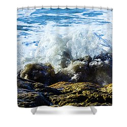 Wave Meets Rock Shower Curtain