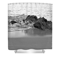 Rock And Waves In Albandeira Beach. Monochrome Shower Curtain