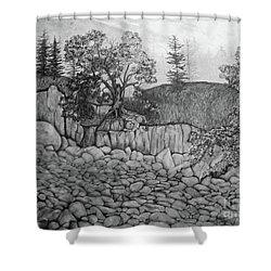 Rock Beach Shower Curtain by John Stuart Webbstock