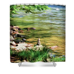 Shower Curtain featuring the photograph Rock Cairn Along The Bluestone River by Kerri Farley