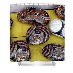 Rock Cats And Fawns Shower Curtain by Barbara Griffin