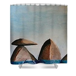 Shower Curtain featuring the painting Rock Composition #1 by Carol Duarte