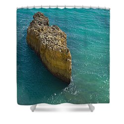 Rock Formation And The Sea In Algarve Shower Curtain