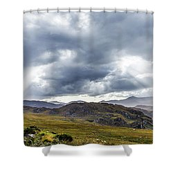 Rock Formation Landscape With Clouds And Sun Rays In Ireland Shower Curtain by Semmick Photo