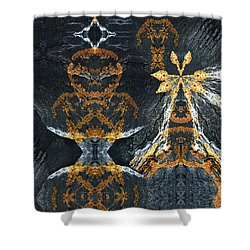 Shower Curtain featuring the digital art Rock Gods Lichen Lady And Lords by Nancy Griswold